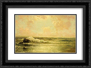 Seascape with Pines and Overhanging Clouds 24x18 Black or Gold Ornate Framed and Double Matted Art Print by Robert Julian Onderdonk