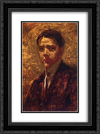 Self Portrait 18x24 Black or Gold Ornate Framed and Double Matted Art Print by Robert Julian Onderdonk