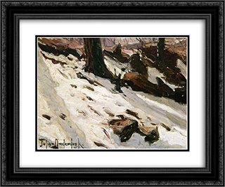 Snow near the Cave, Central Park, New York 24x20 Black or Gold Ornate Framed and Double Matted Art Print by Robert Julian Onderdonk