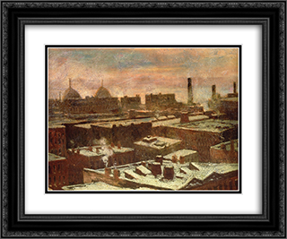 View of City Rooftops in Winte 24x20 Black or Gold Ornate Framed and Double Matted Art Print by Robert Julian Onderdonk