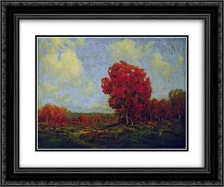 October Day 24x20 Black or Gold Ornate Framed and Double Matted Art Print by Robert Julian Onderdonk