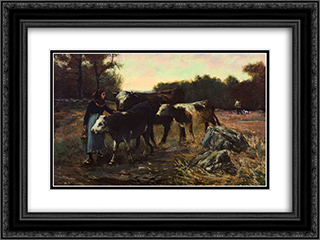Landscape with Cattle 24x18 Black or Gold Ornate Framed and Double Matted Art Print by Robert Julian Onderdonk