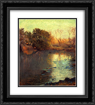 On The San Antonio River 20x22 Black or Gold Ornate Framed and Double Matted Art Print by Robert Julian Onderdonk