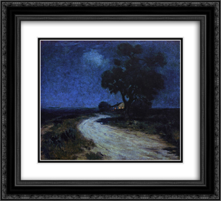 Moonlight in South Texas 22x20 Black or Gold Ornate Framed and Double Matted Art Print by Robert Julian Onderdonk