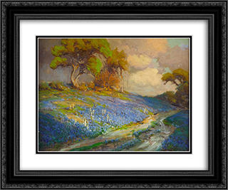 Late Afternoon in the Bluebonnets, S. W. Texas 24x20 Black or Gold Ornate Framed and Double Matted Art Print by Robert Julian Onderdonk
