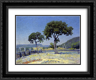 Live Oak Trees on Williams' Ranch, Bandera County 24x20 Black or Gold Ornate Framed and Double Matted Art Print by Robert Julian Onderdonk