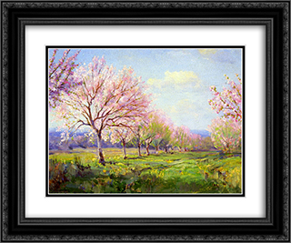 Peach Orchard on Mavericks Farm 24x20 Black or Gold Ornate Framed and Double Matted Art Print by Robert Julian Onderdonk