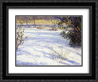 Snow Scene 24x20 Black or Gold Ornate Framed and Double Matted Art Print by Robert Julian Onderdonk