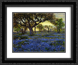 Old Live Oak Tree and Bluebonnets on the West Texas Military Grounds, San Antonio 24x20 Black or Gold Ornate Framed and Double Matted Art Print by Robert Julian Onderdonk
