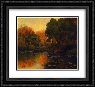 San Antonio River 22x20 Black or Gold Ornate Framed and Double Matted Art Print by Robert Julian Onderdonk