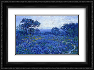 Bluebonnet Scene 24x18 Black or Gold Ornate Framed and Double Matted Art Print by Robert Julian Onderdonk