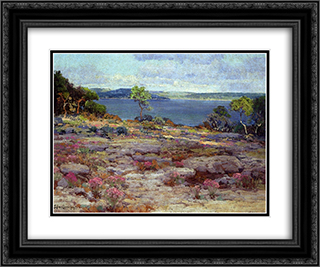 Mountain Pinks in Bloom, Medina Lake, Southwest Texas 24x20 Black or Gold Ornate Framed and Double Matted Art Print by Robert Julian Onderdonk