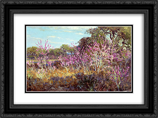 Redbud Tree in Bloom at Leon Springs, San Antonio 24x18 Black or Gold Ornate Framed and Double Matted Art Print by Robert Julian Onderdonk