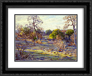 Late Afternoon, Alamo Heights, San Antonio, Texas 24x20 Black or Gold Ornate Framed and Double Matted Art Print by Robert Julian Onderdonk