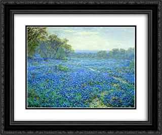 Bluebonnet Scene 24x20 Black or Gold Ornate Framed and Double Matted Art Print by Robert Julian Onderdonk