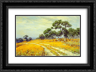 Landscape with Coreopsis 24x18 Black or Gold Ornate Framed and Double Matted Art Print by Robert Julian Onderdonk
