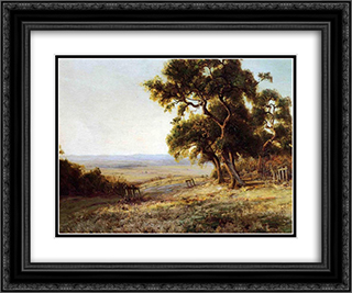 Late Afternoon, Valley of the Leon 24x20 Black or Gold Ornate Framed and Double Matted Art Print by Robert Julian Onderdonk