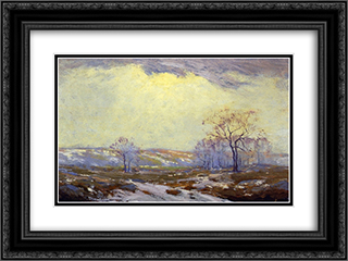 Lingering Snow 24x18 Black or Gold Ornate Framed and Double Matted Art Print by Robert Julian Onderdonk