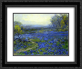 Morning in the Bluebonnets 24x20 Black or Gold Ornate Framed and Double Matted Art Print by Robert Julian Onderdonk