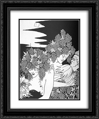 A Snare of Vintage 2 20x24 Black or Gold Ornate Framed and Double Matted Art Print by Aubrey Beardsley