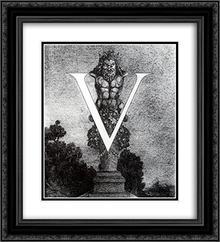 Design of Initial V 2 20x22 Black or Gold Ornate Framed and Double Matted Art Print by Aubrey Beardsley