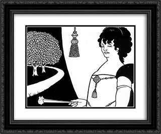 Madame Rejane 24x20 Black or Gold Ornate Framed and Double Matted Art Print by Aubrey Beardsley