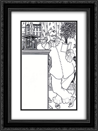 Pierrot 4 18x24 Black or Gold Ornate Framed and Double Matted Art Print by Aubrey Beardsley