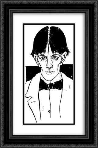 Self-portait 16x24 Black or Gold Ornate Framed and Double Matted Art Print by Aubrey Beardsley