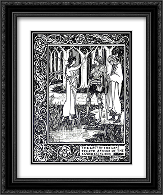 The Lady of the Lake Telleth Arthur of the Sword Excalibur 20x24 Black or Gold Ornate Framed and Double Matted Art Print by Aubrey Beardsley