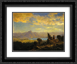 Scene in the Tyrol 24x20 Black or Gold Ornate Framed and Double Matted Art Print by Albert Bierstadt