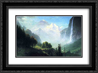 Staubbach Falls, Near Lauterbrunnen, Switzerland 24x18 Black or Gold Ornate Framed and Double Matted Art Print by Albert Bierstadt