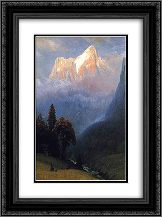 Storm Among the Alps 18x24 Black or Gold Ornate Framed and Double Matted Art Print by Albert Bierstadt