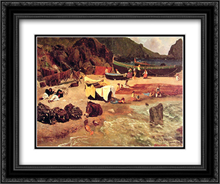 Fishing Boats at Capri 24x20 Black or Gold Ornate Framed and Double Matted Art Print by Albert Bierstadt