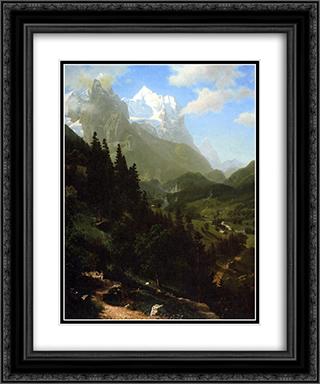 The Wetterhorn 20x24 Black or Gold Ornate Framed and Double Matted Art Print by Albert Bierstadt