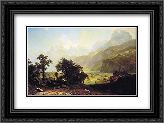 Lake Lucerne, Switzerland 24x18 Black or Gold Ornate Framed and Double Matted Art Print by Albert Bierstadt