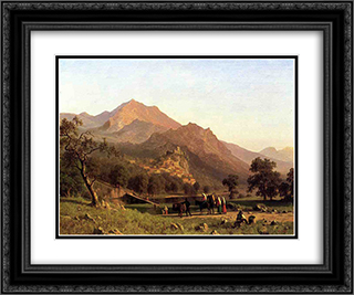 Rocca de Secca 24x20 Black or Gold Ornate Framed and Double Matted Art Print by Albert Bierstadt