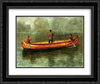 Fishing from a Canoe 24x20 Black or Gold Ornate Framed and Double Matted Art Print by Albert Bierstadt
