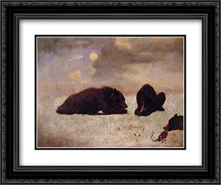 Grizzly Bears 24x20 Black or Gold Ornate Framed and Double Matted Art Print by Albert Bierstadt