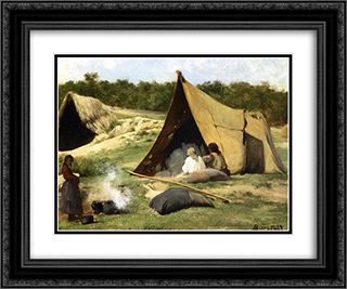 Indian Camp 24x20 Black or Gold Ornate Framed and Double Matted Art Print by Albert Bierstadt