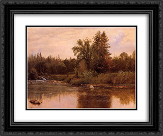 Landscape, New Hampshire 24x20 Black or Gold Ornate Framed and Double Matted Art Print by Albert Bierstadt