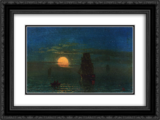 Ships in Moonlight 24x18 Black or Gold Ornate Framed and Double Matted Art Print by Albert Bierstadt
