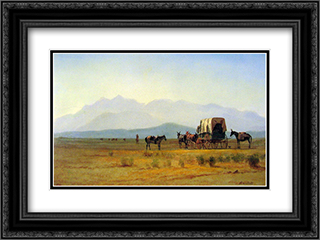 Surveyors Wagon in the Rockies 24x18 Black or Gold Ornate Framed and Double Matted Art Print by Albert Bierstadt