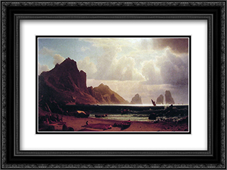 The Marina Piccola, Capri 24x18 Black or Gold Ornate Framed and Double Matted Art Print by Albert Bierstadt