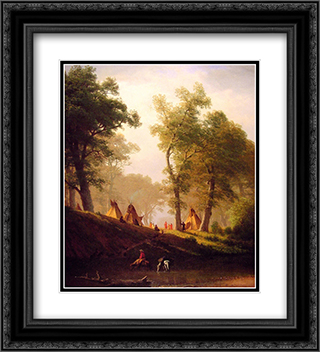 The Wolf River, Kansas 20x22 Black or Gold Ornate Framed and Double Matted Art Print by Albert Bierstadt