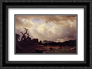 Thunderstorm in the Rocky Mountains 24x18 Black or Gold Ornate Framed and Double Matted Art Print by Albert Bierstadt