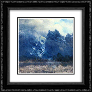 Yosemite Valley Twin Peaks 20x20 Black or Gold Ornate Framed and Double Matted Art Print by Albert Bierstadt
