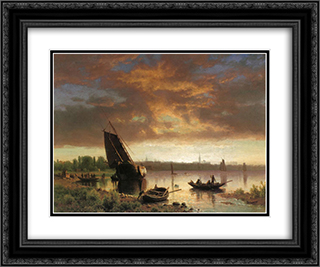 Harbor Scene 24x20 Black or Gold Ornate Framed and Double Matted Art Print by Albert Bierstadt