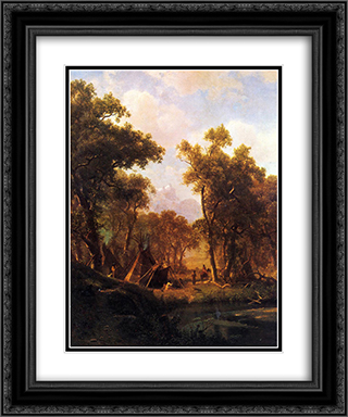 Indian Encampment, Shoshone Village 20x24 Black or Gold Ornate Framed and Double Matted Art Print by Albert Bierstadt
