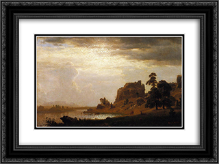 On the Sweetwater Near the Devil's Gate, Nebraska 24x18 Black or Gold Ornate Framed and Double Matted Art Print by Albert Bierstadt