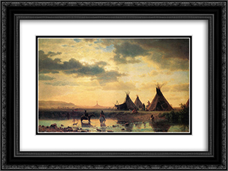 View of Chimney Rock, Ogalillalh Sioux Village in Foreground 24x18 Black or Gold Ornate Framed and Double Matted Art Print by Albert Bierstadt